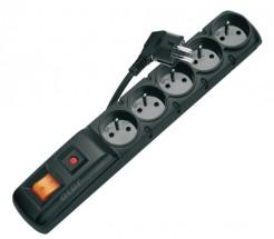 Přepěťová ochrana P53872, 5 zásuvek, vypínač, 3m, černá