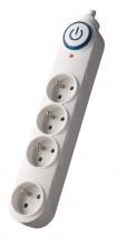 Přepěťová ochrana Solight PO55, 4 zásuvky, 1,5m, bílá