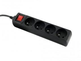 Přepěťová ochrana WE 8404, 4 zásuvky, 1,8m, černá