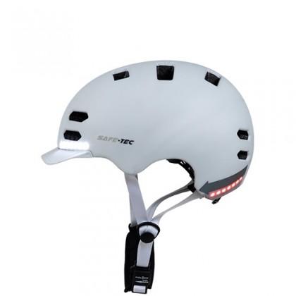 Příslušenství pro elektromobilitu Chytrá helma SafeTec SK8, L, LED blinkry, bluetooth, bílá