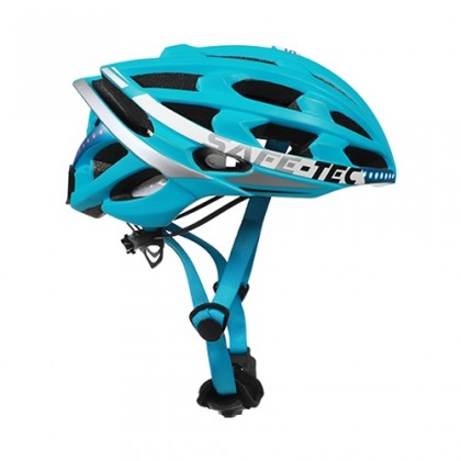 Příslušenství pro elektromobilitu Chytrá helma SafeTec TYR 2, L, LED blinkry, bluetooth, modrá