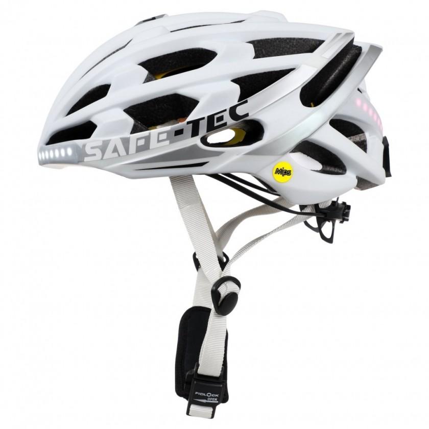 Příslušenství pro elektromobilitu Chytrá helma SafeTec TYR 3, XL, LED blinkry, bluetooth, bílá