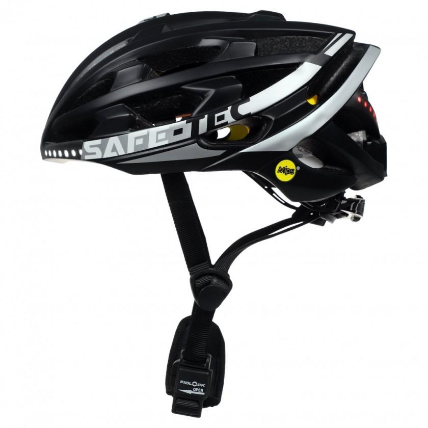 Příslušenství pro elektromobilitu Chytrá helma SafeTec TYR 3, XL, LED blinkry, bluetooth, černá