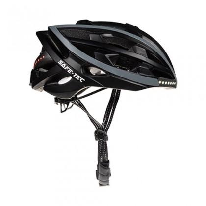 Příslušenství pro elektromobilitu Chytrá helma SafeTec TYR, M, LED blinkry, bluetooth, černá