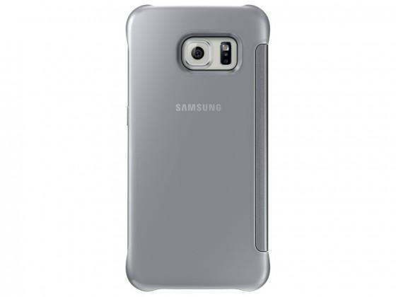Příslušenství pro S6 Samsung pouzdro Clear View pro Galaxy S6 Edge, stříbrné