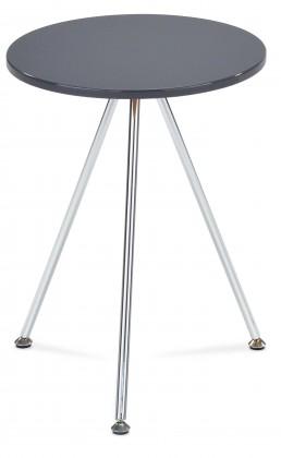 Přístavný stolek Toma - kulatý (vysoký lesk šedá, chrom)