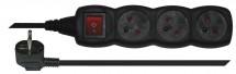 Prodlužovací kabel 1,5m 3 zásuvky černá