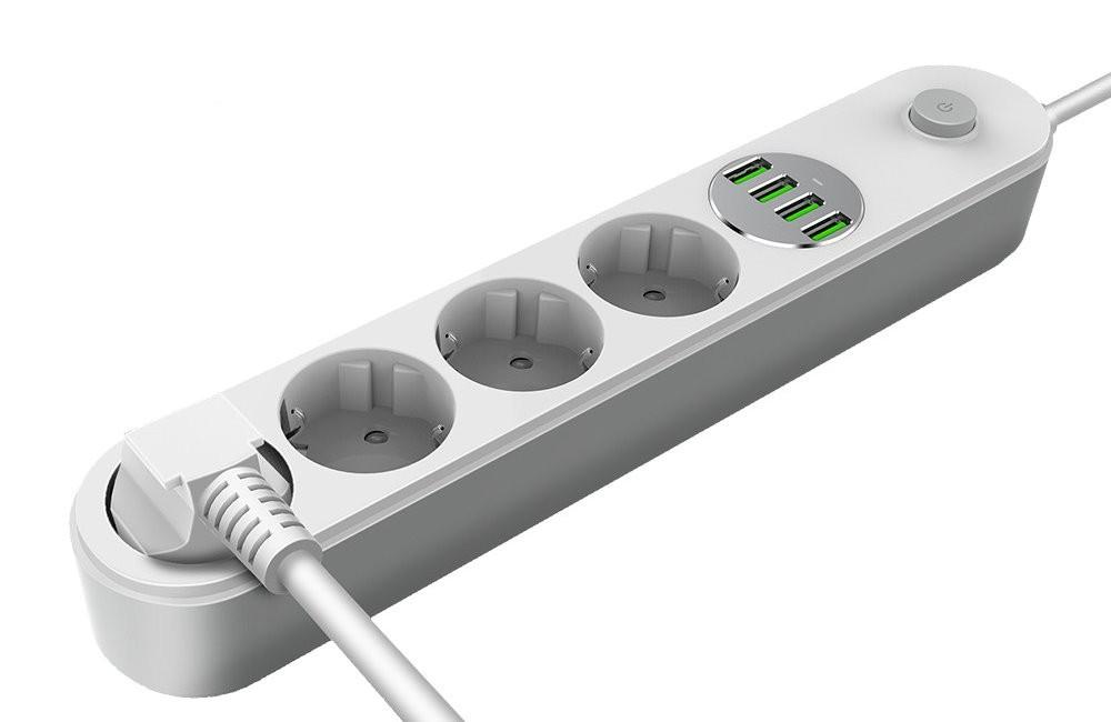 Prodlužovací kabel COLORWAY Prodlužovací napájecí přívod/4x Schuko/4x USB 5V 2m