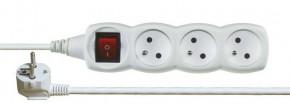 Prodlužovací kabel Emos P1311, 3xzásuvka, 1,2m, bílý, vypínač