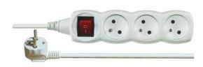 Prodlužovací kabel Emos P1313, 3xzásuvka, 3m, bílý, vypínač