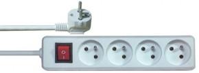 Prodlužovací kabel Emos P1415, 4xzásuvka, 5m, bílý, vypínač