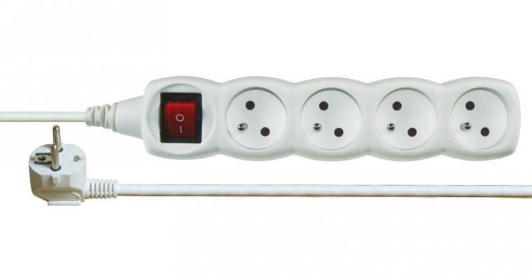 Prodlužovací kabel Emos P1417, prodlužovací kabel bílý s vypínačem 4 zásuvky 7m