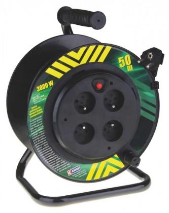 Prodlužovací kabel Emos P19450P,PVC prodluž. kabel na bubnu,4 zás. 50m pevný střed