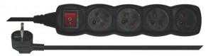 Prodlužovací kabel Emos PC1415, 4xzásuvka, 5m, černý, vypínač