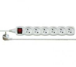Prodlužovací kabel Emos PORX2016, 6xzásuvka, 5m, bílý, vypínač