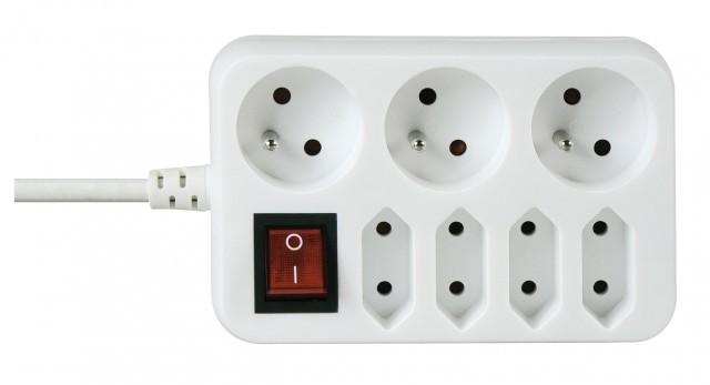 Prodlužovací kabel Emos prodlužovací kabel NFS033 1,5m 3+4 zásuvky