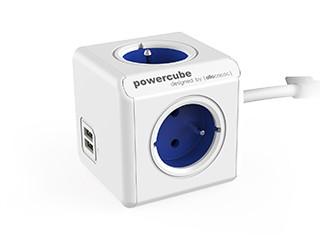 Prodlužovací kabel Napájecí adaptér PowerCube Extended 4 zásuvky, 2xUSB, modrá,1,5m