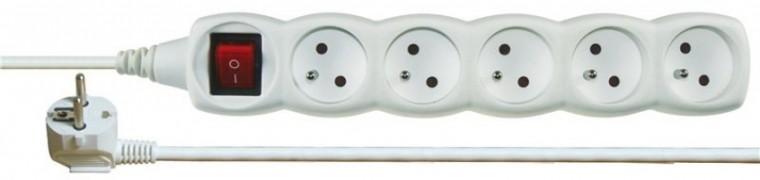 Prodlužovací kabel Prodlužovací kabel 2m 5 zásuvek vypínač bílý