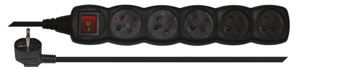 Prodlužovací kabel Prodlužovací kabel černý s vypínačem 5 zásuvek 3m