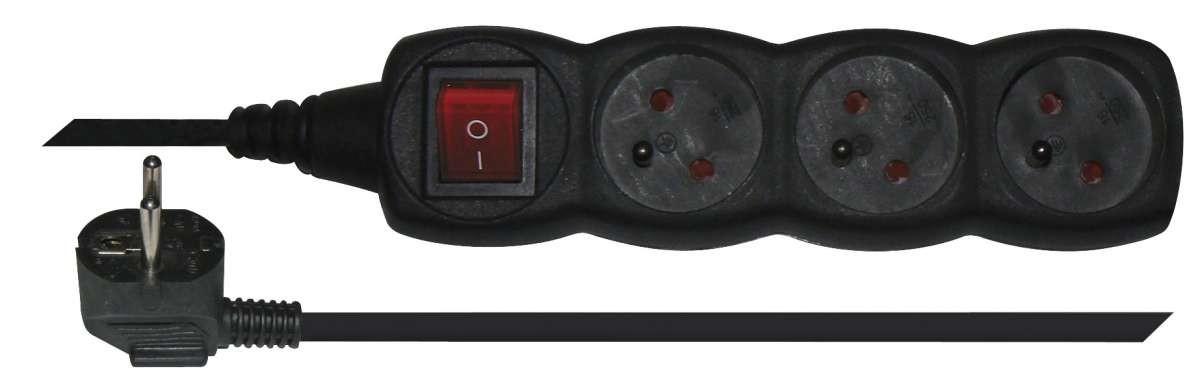 Prodlužovací kabel Prodlužovací kabel Emos, 3xzásuvka, 1,5m, černý
