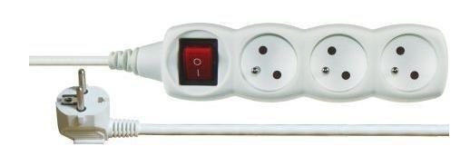 Prodlužovací kabel Prodlužovací kabel Emos P1313, 3xzásuvka, 3m, bílý, vypínač