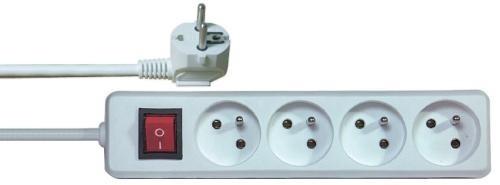 Prodlužovací kabel Prodlužovací kabel Emos P1415, 4xzásuvka, 5m, bílý, vypínač