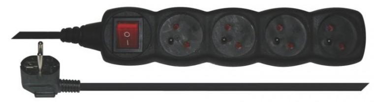 Prodlužovací kabel Prodlužovací kabel Emos PC1415, 4xzásuvka, 5m, černý, vypínač