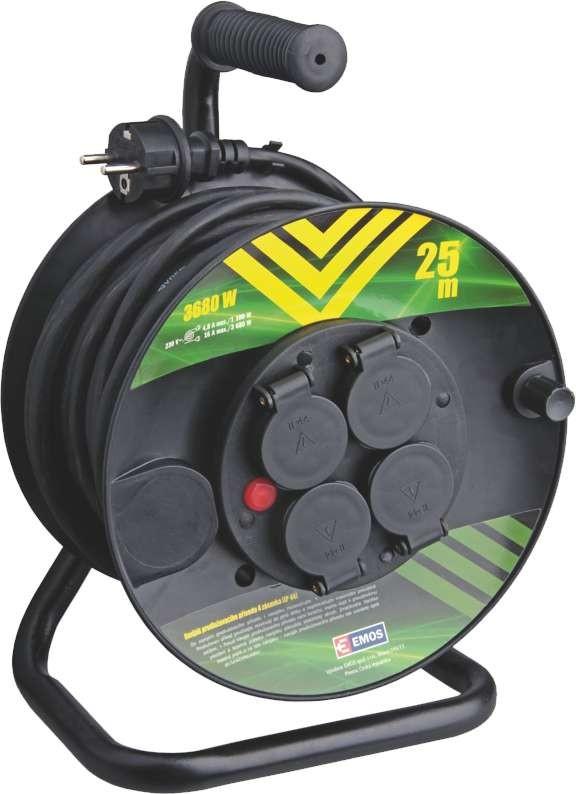 Prodlužovací kabel Prodlužovací kabel na bubnu Emos P084251, 4xzásuvka, 25m, černý
