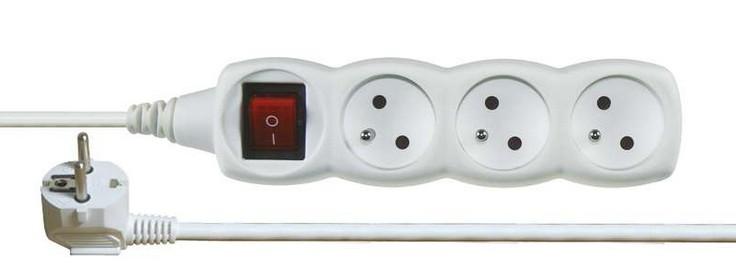 Prodlužovací kabel Prodlužovací kabel P1311 bílý 1,2m 3 zásuvky vypínač
