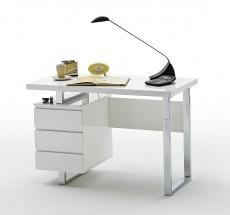Psací stůl Langres (3 šuplíky, bílá, stříbrná)