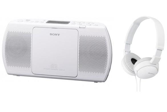 Rádio s CD Sony ZS-PE40CPW + MDR-ZX110W (White)