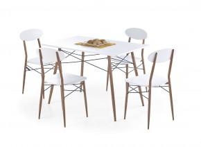 Record - Stůl + 4 židle, obdélník (bílá, hnědá)