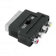 Redukce SCART vidlice 122238- 3 cinch AV + S-video zásuvka, IN/OU