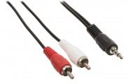 Redukční stereo kabel 3,5 mm-2×zástrčka RCA,5m,černý