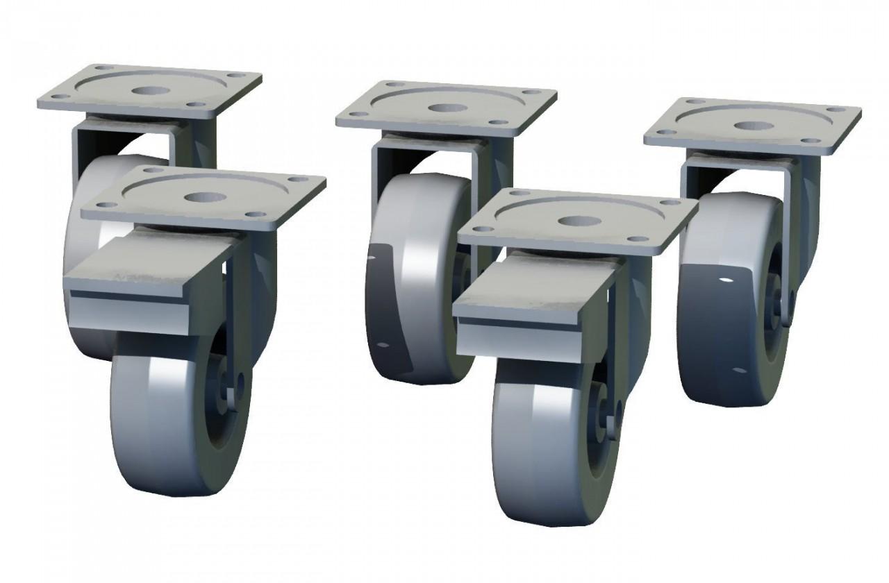 Regál Box - nábytková kolečka, 5 kusů (šedá, 10 cm)