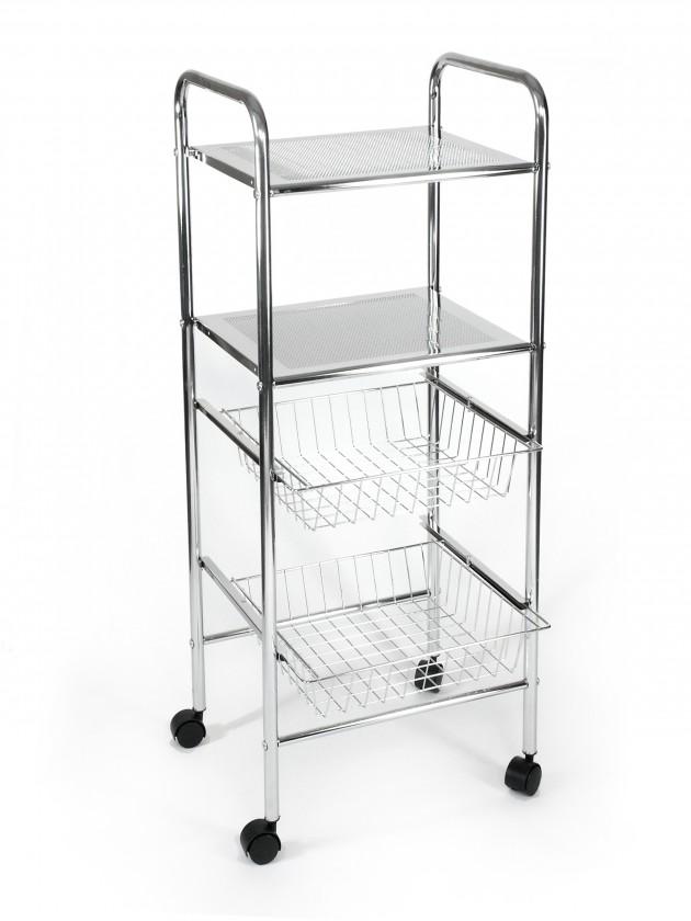 Regál do koupelny Koupelnový vozík, 98 cm (chrom)