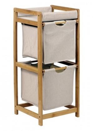 Regál do koupelny Regál DR-012-2 (bambus/šedá)