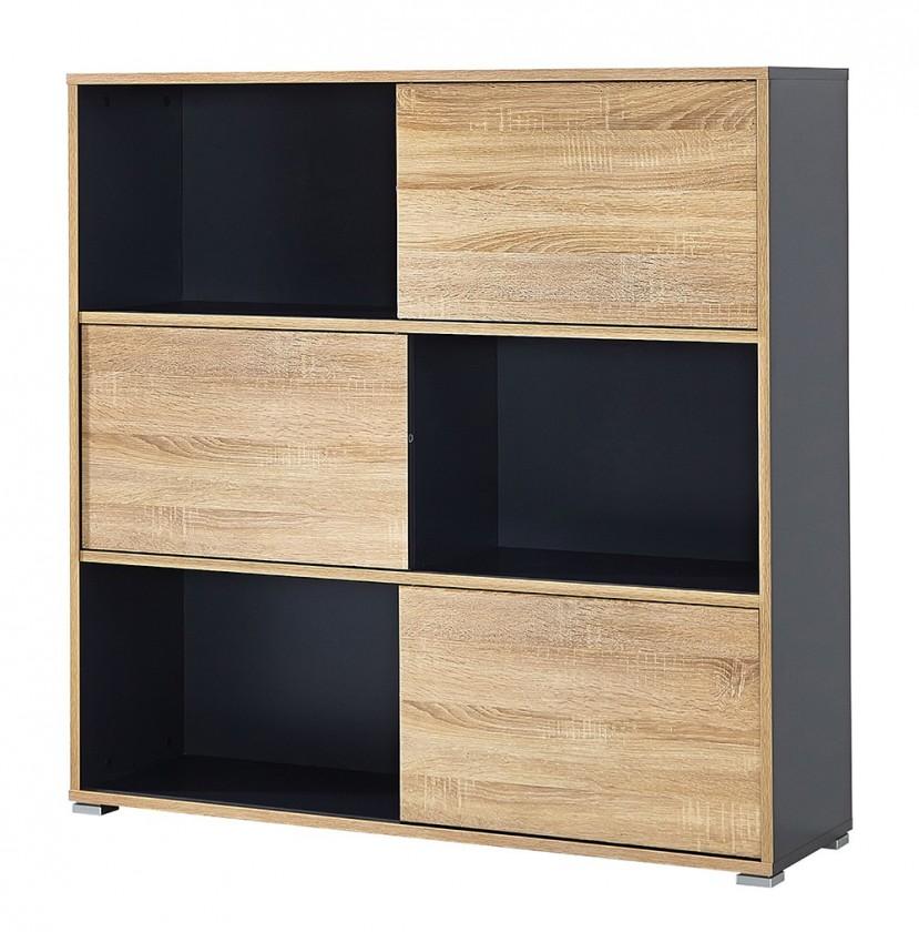 Regál Slide - regál s posuvnými dveřmi, 119 cm (antracit/dub sonoma)