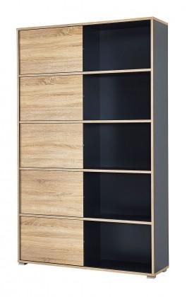 Regál Slide - regál s posuvnými dveřmi, 196 cm (antracit/dub sonoma)