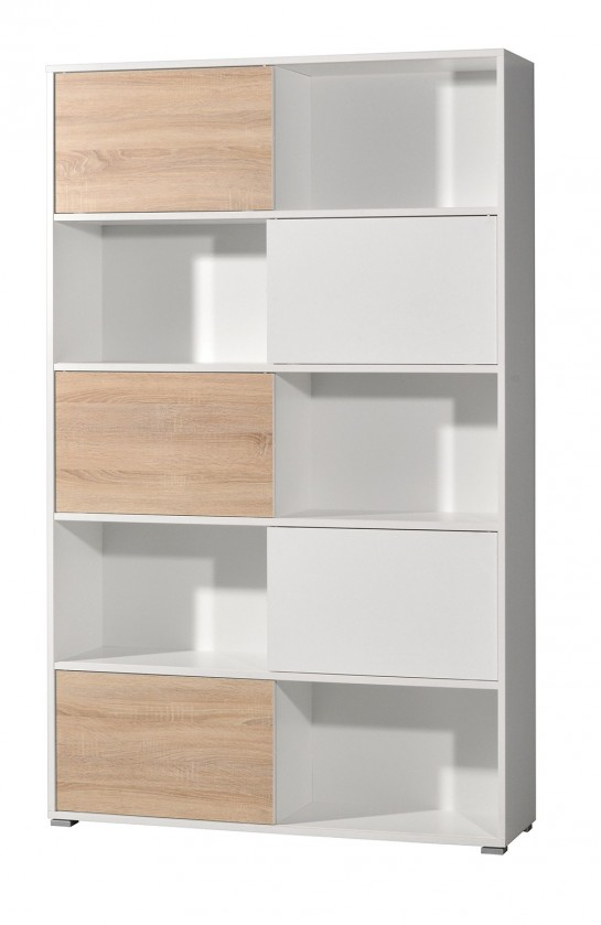 Regál Slide - regál s posuvnými dveřmi, 196 cm (bílá/dub sonoma)