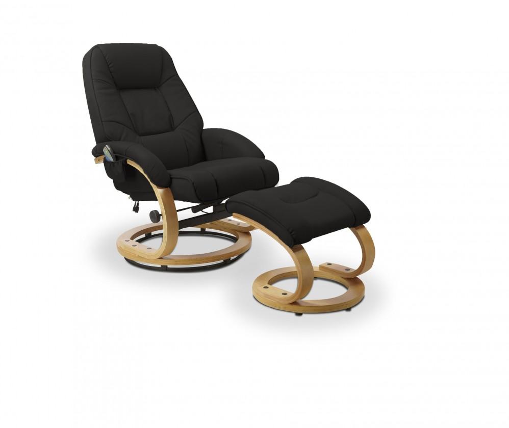 Relaxační Matador - Křeslo, rozkládací, s masážní funkcí (eko kůže černá)
