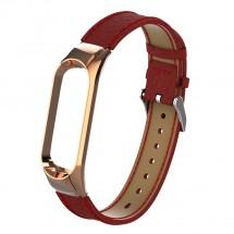 Řemínek pro Xiaomi Mi Band 3/4 kožený lichee, červená