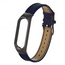 Řemínek pro Xiaomi Mi Band 5 kožený lichee, modrá