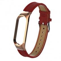 Řemínek pro Xiaomi Mi Band 5 kožený licheečervená