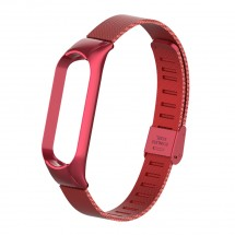 Řemínek pro Xiaomi Mi Band 5 ocel. milán, easy click, červená OBA