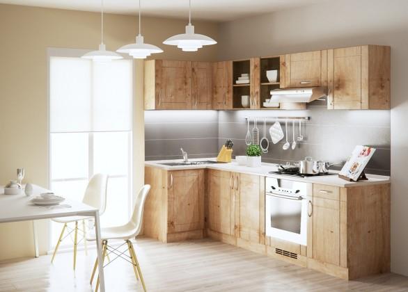 Rohová Aneta - Kuchyňský blok, 270x110cm (dub arlington/traini beige)