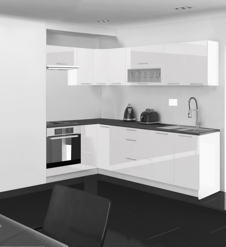 Rohová Emilia - Kuchyně rohová, 150/250 cm P (bílá, PD černá)