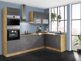 Rohová kuchyně Birgit levý roh 270x150 cm (tmavý beton, dub)