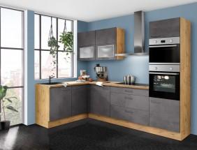 Rohová kuchyně Birgit pravý roh 270x150 cm (tmavý beton, dub)