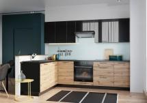 Rohová kuchyně Dixie levý roh 275x180 cm (černá/dub)